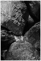 Boulders in Balconies Cave. Pinnacles National Park ( black and white)