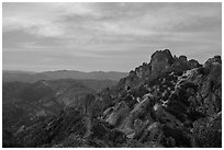 High Peaks at sunset. Pinnacles National Park ( black and white)