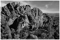 Cliffs and pinnacles. Pinnacles National Park ( black and white)