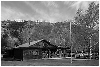 Visitor center and campground. Pinnacles National Park, California, USA. (black and white)