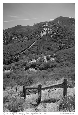 Gate on pig fence. Pinnacles National Park, California, USA.