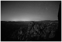 Square Block group of pinnacles at night. Pinnacles National Park ( black and white)