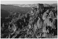 Pinnacles and Square Block Rock at sunset. Pinnacles National Park ( black and white)