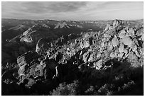 Balconies and Square Block in late afternoon. Pinnacles National Park ( black and white)