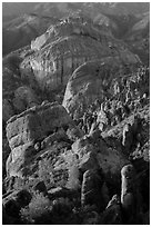 Rock spires, Machete Ridge, and Balconies in late afternoon. Pinnacles National Park ( black and white)