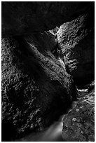 Stream and boulders, Upper Bear Gulch cave. Pinnacles National Park ( black and white)