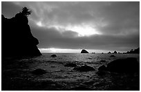 Seastacks and clouds, Hidden Beach, sunset. Redwood National Park, California, USA. (black and white)