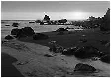 Stream and beach at sunset, False Klamath Cove. Redwood National Park ( black and white)