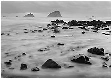 Wave motion over rocks in  purple light of dusk. Redwood National Park, California, USA. (black and white)