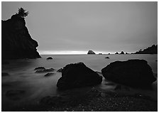 Rocks and seastacks, cloudy sunset, Hidden Beach. Redwood National Park ( black and white)