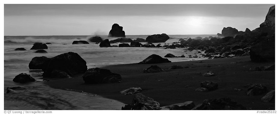 Stream and seastacks at sunset. Redwood National Park (black and white)