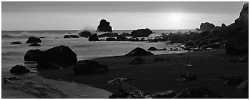 Stream and seastacks at sunset. Redwood National Park (Panoramic black and white)