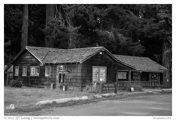 Visitor Center, Prairie Creek Redwoods State Park. Redwood National Park (black and white)