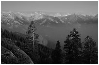 Western Divide, sunset. Sequoia National Park, California, USA. (black and white)