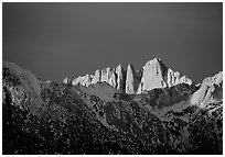 Mt Whitney, sunrise. Sequoia National Park, California, USA. (black and white)