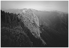 Moro Rock, dusk. Sequoia National Park, California, USA. (black and white)