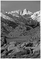 Alabama hills and Mt Whitney. Sequoia National Park, California, USA. (black and white)