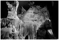 Ornate calcite stalactites, Crystal Cave. Sequoia National Park, California, USA. (black and white)