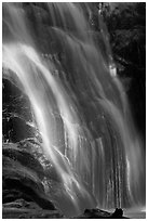 Waterfall near Crystal Cave, Cascade Creek. Sequoia National Park, California, USA. (black and white)