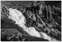 Tokopah Falls. Sequoia National Park, California, USA. (black and white)
