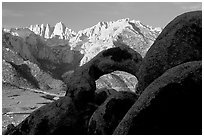 Boulders, Alabama Hills Arch I, Mt Whitney. Sequoia National Park, California, USA. (black and white)