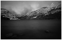Tenaya Lake, dusk. Yosemite National Park, California, USA. (black and white)