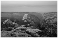 View of Yosemite Valley from Clouds Rest at dawn. Yosemite National Park ( black and white)
