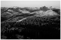 Cathedral Range seen from Clouds Rest, sunset. Yosemite National Park ( black and white)
