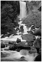 Vernal Falls. Yosemite National Park, California, USA. (black and white)