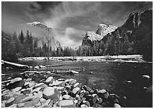 Valley View in winter. Yosemite National Park ( black and white)