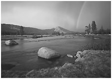Tuolumne River, Lambert Dome, and rainbow, evening storm. Yosemite National Park ( black and white)