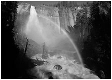 Nevada Falls with rainbow, afternoon. Yosemite National Park, California, USA. (black and white)