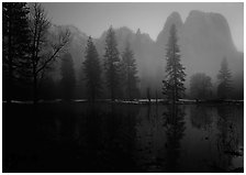 Cathedral rocks with mist, winter dusk. Yosemite National Park, California, USA. (black and white)