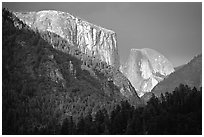 El Capitan and Half Dome viewed from Big Oak Flat Road, afternoon storm light. Yosemite National Park ( black and white)