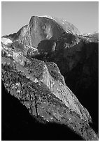 Half-Dome from Yosemite Falls trail, late afternoon. Yosemite National Park, California, USA. (black and white)