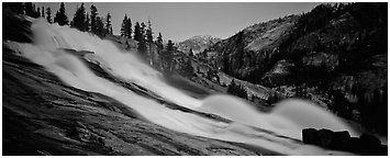 Tuolumne River, waterwheels, and granite slab at dusk. Yosemite National Park (Panoramic black and white)