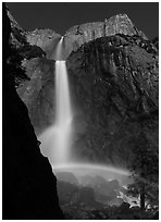 Moon rainbow, Lower and Upper Yosemite Falls. Yosemite National Park ( black and white)