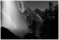 Upper Yosemite Falls with double moonbow and Half-Dome. Yosemite National Park ( black and white)