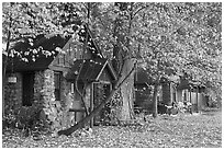 Private houses in autumn. Yosemite National Park, California, USA. (black and white)