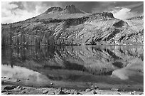 May Lake and Mt Hoffman. Yosemite National Park, California, USA. (black and white)