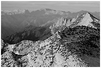 Sunset light over mountain ranges. Yosemite National Park, California, USA. (black and white)