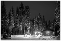 Gas station in winter. Yosemite National Park, California, USA. (black and white)