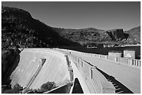 O'Shaughnessy Dam and Hetch Hetchy Reservoir. Yosemite National Park, California, USA. (black and white)