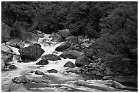 Merced River and boulders in spring, Lower Merced Canyon. Yosemite National Park ( black and white)