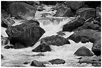 Cascades and boulders, Lower Merced Canyon. Yosemite National Park ( black and white)