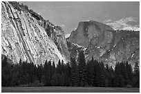 Seasonal waterfall on Royal Arches and Half-Dome. Yosemite National Park, California, USA. (black and white)