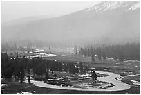 Seasonal ponds and fog, Tuolumne Meadows. Yosemite National Park, California, USA. (black and white)