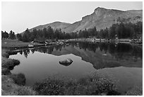 Mt Dana shoulder reflected in tarn at dusk. Yosemite National Park ( black and white)