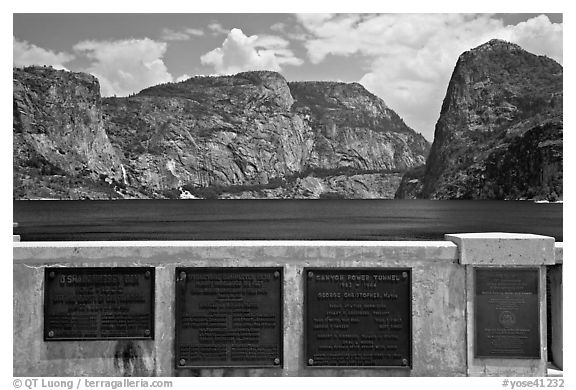 Commemorative inscriptions on dam and Hetch Hetchy reservoir. Yosemite National Park, California, USA.