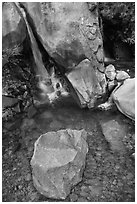 Boulder and emerald waters in pool, Wapama Falls, Hetch Hetchy. Yosemite National Park ( black and white)